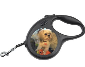Personalized Retractable Dog Leash Customized w/ Your Pet's Picture