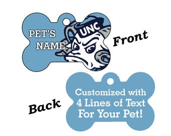UNC Tar Heels Double Sided Pet Id Tag for Dogs and Cats Personalized w/ 4 Lines of Text
