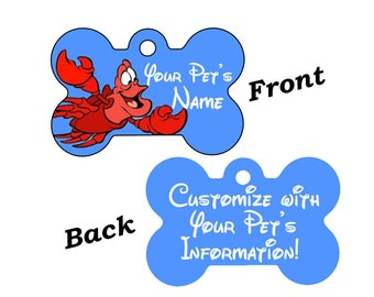 Disney Little Mermaid Sebastian Double Sided Pet Id Dog Tag Personalized w/ 4 Lines of Text