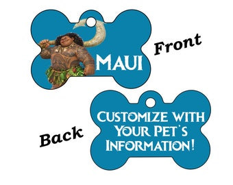 Disney Moana Maui Double Sided Pet Id Dog Tag Personalized for Your Pet