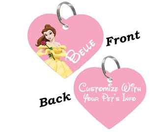 Disney Princess Belle Double Sided Pet Id Tag for Dogs & Cats Personalized for Your Pet