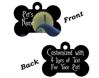 Nightmare Before Christmas Jack and Sally Double Sided Pet Id Dog Tag Personalized for your Pet
