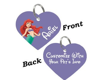 Disney Ariel Double Sided Heart Pet Id Tag for Dogs & Cats Personalized for Your Pet