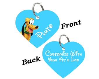 Disney Pluto Double Sided Heart Pet Id Tag for Dogs & Cats Personalized for Your Pet