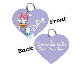 Disney Daisy Duck Double Sided Heart Pet Id Tag for Dogs & Cats Personalized for Your Pet