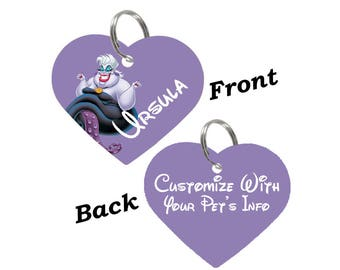 Disney Ursula Double Sided Heart Pet Id Tag for Dogs & Cats Personalized for Your Pet