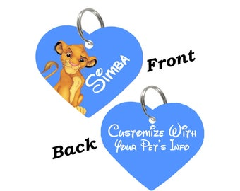 Disney Simba Double Sided Heart Pet Id Tag for Dogs & Cats Personalized for Your Pet