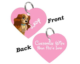 Disney Lady and the Tramp Double Sided Heart Pet Id Tag for Dogs & Cats Personalized for Your Pet