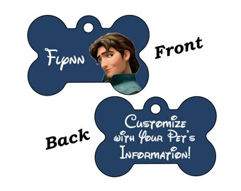 Disney Tangled Flynn Rider Double Sided Pet Id Tag for Dogs and Cats Personalized w/ 4 Lines of Text