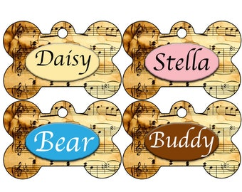 Double Sided Sheet Music Custom Pet Id Dog Tag Personalized for Your Pet