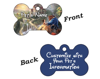 Disney Beauty and the Beast Dream Collection Double Sided Pet Id Tag for Dogs and Cats Personalized w/ 4 Lines of Text