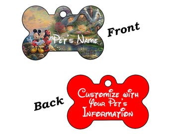 Disney Minnie & Mickey Mouse Dream Collection Double Sided Pet Id Tag for Dogs and Cats Personalized w/ 4 Lines of Text
