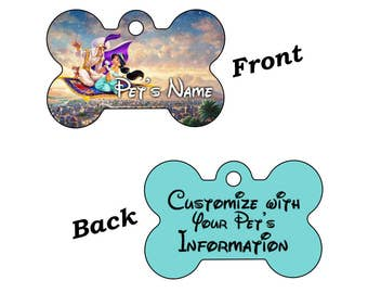 Disney Aladdin Dream Collection Double Sided Pet Id Tag for Dogs and Cats Personalized w/ 4 Lines of Text