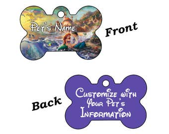 Disney Little Mermaid Dream Collection Double Sided Pet Id Tag for Dogs and Cats Personalized w/ 4 Lines of Text