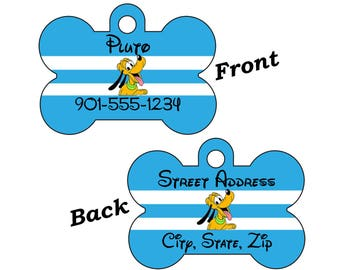 Disney Pluto Double Sided Custom Pet Id Dog Tag Personalized w/ 4 Lines of Text