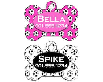 Soccer Pet Id Tag for Dogs and Cats Personalized w/ Your Pet's Name & Number