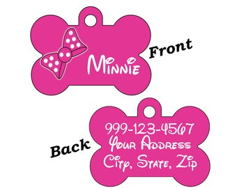 Cute Minnie Bow Double Sided Pet Id Dog Tag Personalized w/ 4 Lines of Text for Your Pet