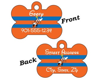 Disney Goofy Double Sided Pet Id Dog Tag Personalized for your Pet