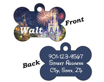 Disney Cinderella's Castle Fireworks Pet Id Tag for Dogs and Cats Personalized w/ Name & Number