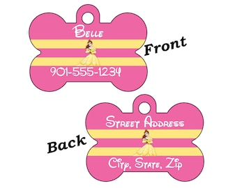 Disney Beauty and the Beast Belle Double Sided Pet Id Dog Tag Personalized for your Pet