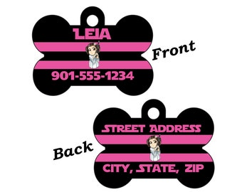 Disney Star Wars Princess Leia 2-SIDED Pet Id Tag for Dogs and Cats Personalized for your Pet