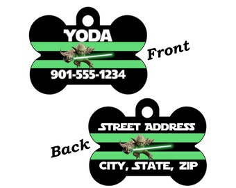 Disney Star Wars Yoda Double Sided Pet Id Dog Tag Personalized for your Pet