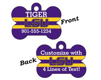LSU Tigers Double Sided Pet Id Dog Tag Personalized w/ 4 Lines of Text