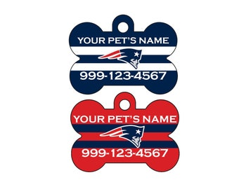 New England Patriots Custom Pet Id Dog Tag Personalized w/ Your Pet's Name and Number