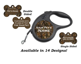 Camo Custom Pet Id Dog Tags & Retractable Leash Personalized for Your Pet