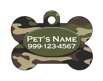 Custom Army Green Camo Pet Id Dog Tag Personalized w/ Your Pet's Name & Number