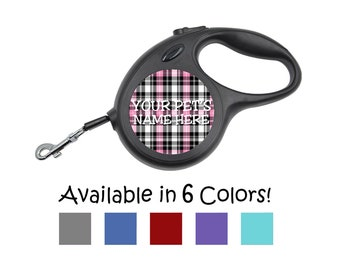 Cute Plaid Pattern Custom Retractable Dog Leash, Available w/ Matching Pet Tag!