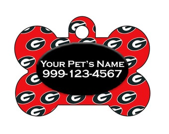 Georgia Bulldogs Pet Id Dog Tag | Personalized w/ Your Pets Name and Number | Officially Licensed