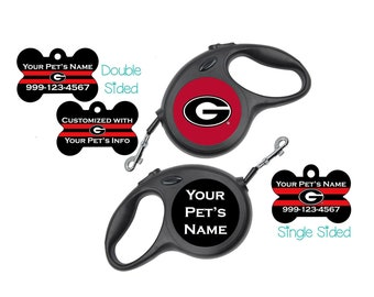 Georgia Bulldogs   Combo Set   Officially Licensed   Pet Id Dog Tag & Retractable Leash   Personalized for Your Pet
