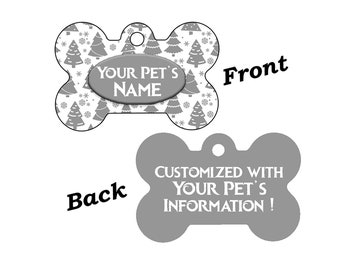 Cute Silver Christmas Tree Themed Pet Id Dog Tag Personalized for Your Pet