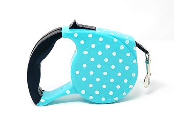 Stylish Cute Blue Polka Dots Retractable Dog Walking Leash / 16ft Cord / Smooth, No-Slip Handle / Sturdy Nylon Cord