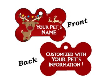 Cute Reindeer Christmas Themed Pet Id Dog Tag Personalized for Your Pet