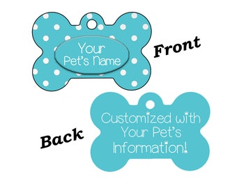 Stylish Cute Teal Polka Dots Double Sided Pet Id Dog Tag Personalized w/ 4 Lines of Text