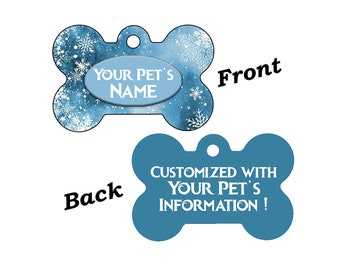 Cute Snowflakes Christmas Themed Pet Id Dog Tag Personalized for Your Pet