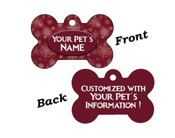 Cute Rustic Red Christmas Themed Pet Id Dog Tag Personalized for Your Pet