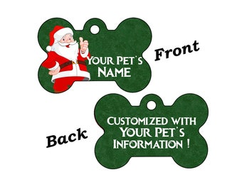 Cute Santa Christmas Themed Pet Id Dog Tag Personalized for Your Pet
