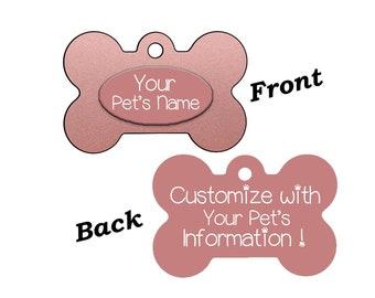 Stylish Cute Rose Gold Double Sided Pet Id Dog Tag Personalized w/ 4 Lines of Text