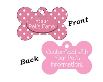 Stylish Cute Pink Polka Dots Double Sided Pet Id Dog Tag Personalized w/ 4 Lines of Text