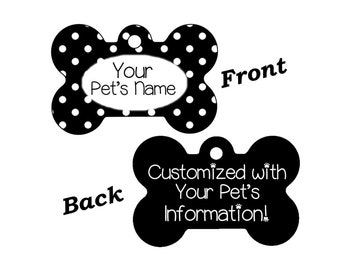 Stylish Cute Polka Dots Double Sided Pet Id Dog Tag Personalized w/ 4 Lines of Text