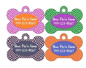 Cute Greek Key Disney Themed Custom Pet Id Dog Tag Personalized w/ Your Pet's Name & Number