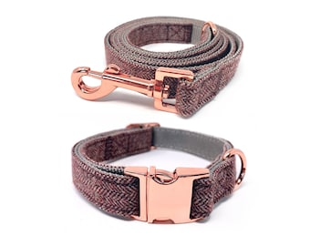 Rose Gold Collar and Leash Set   Deep Merlot Red Nylon Collars and Leashes w/ Rose Gold Buckles