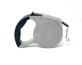 Gray Striped Retractable Dog Walking Leash / 16ft Cord / Smooth, No-Slip Handle / Sturdy Nylon Cord