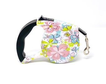 Stylish Flowers Cute Retractable Dog Walking Leash / 16ft Cord / Smooth, No-Slip Handle / Sturdy Nylon Cord