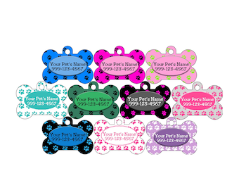 Cute Paw Prints Custom Double Sided Pet Id Dog Tags Personalized w/ 4 Lines of Text