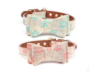 Cute Adjustable Floral Bow Tie Collar for Dogs and Cats