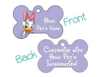 Disney Daisy Duck Double Sided Pet Id Dog Tag | Personalized for your Pet